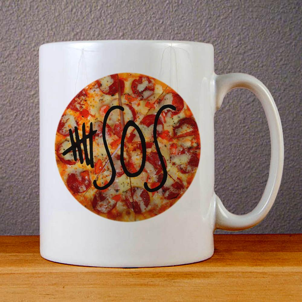 5 SOS Logo on Pizza Ceramic Coffee Mugs