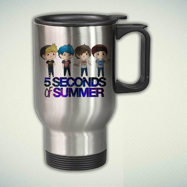 5 Second Of Summer, 5SOS Cartoon 14oz Stainless Steel Travel Mug