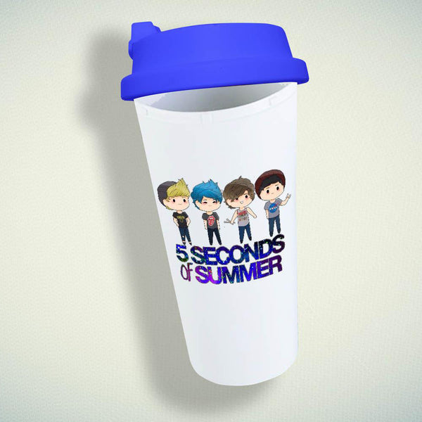 5 Second Of Summer, 5SOS Cartoon Double Wall Plastic Mug