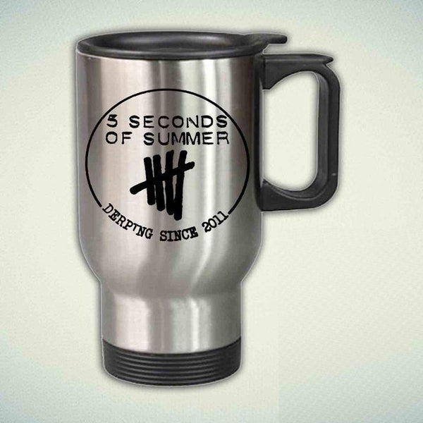5 Seconds Of Summer, Derping Since 2011  14oz Stainless Steel Travel Mug