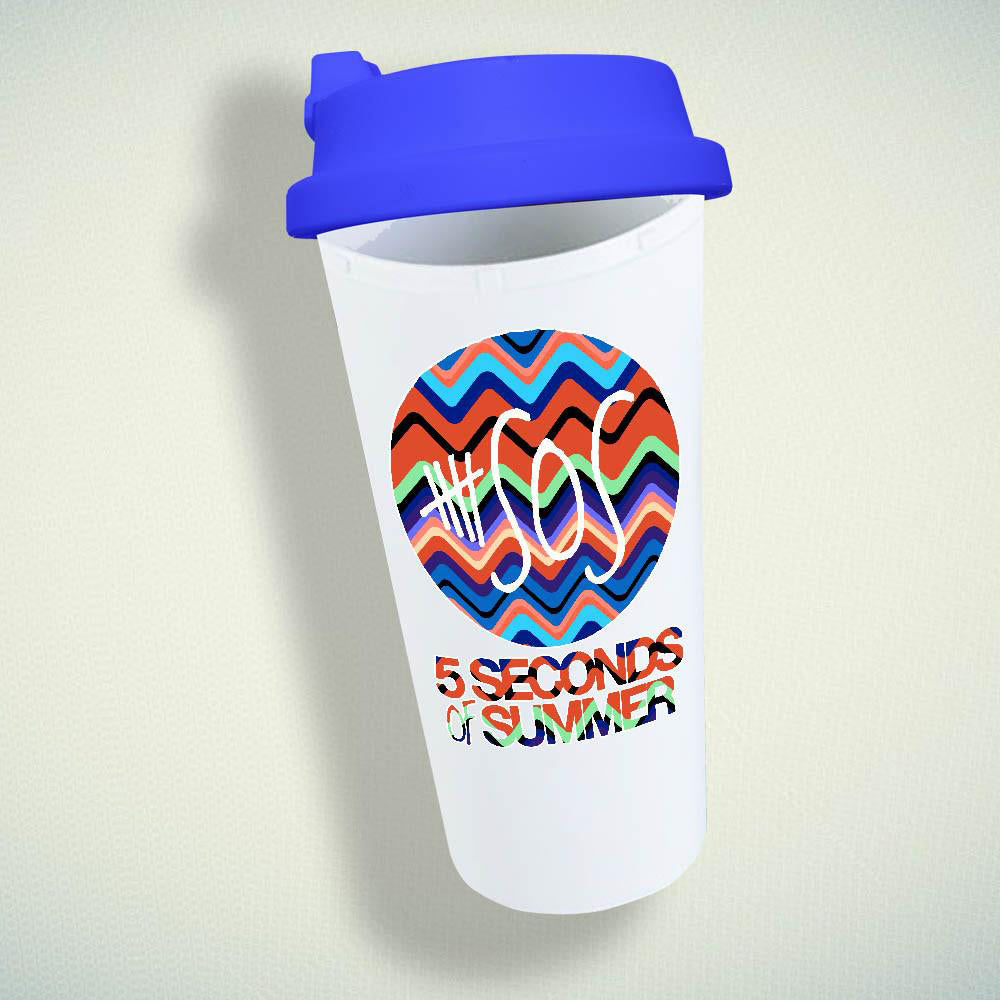 5 Seconds Of Summer On Chevron Double Wall Plastic Mug