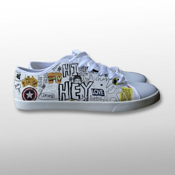 5 Seconds of Summer Collage Drawing Canvas Shoes
