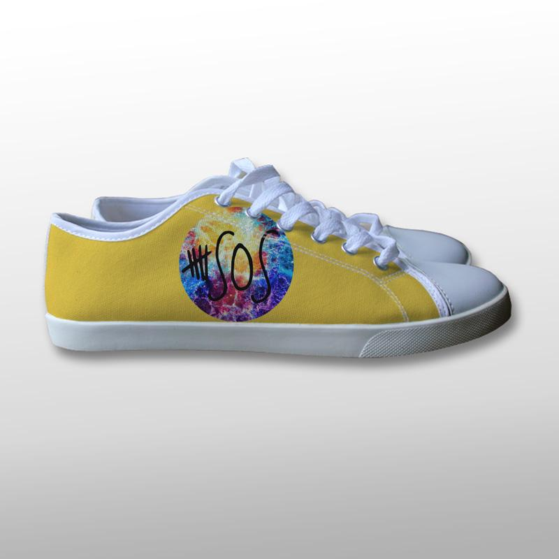 5 Seconds of Summer Logo Galaxy Canvas Shoes