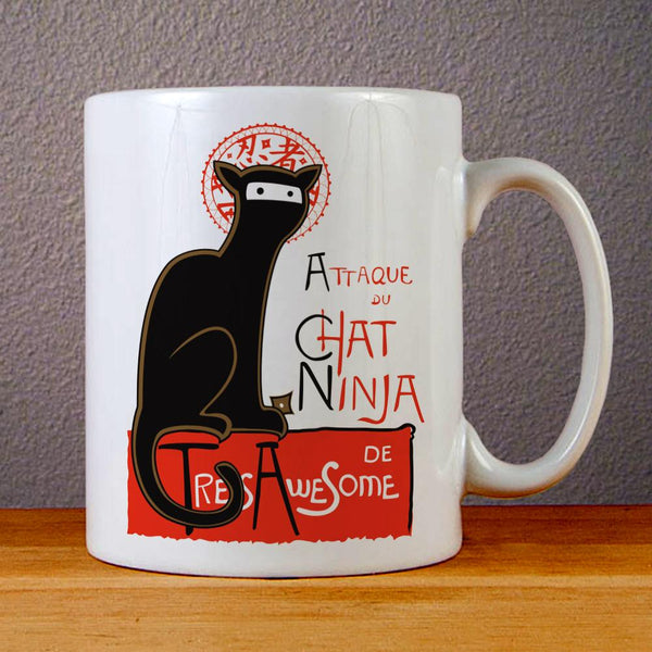 A French Ninja Cat Ceramic Coffee Mugs