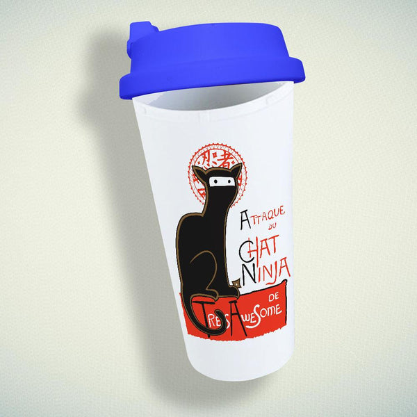 A French Ninja Cat Double Wall Plastic Mug