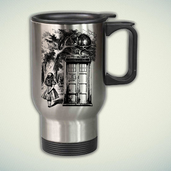 Alice In Wonderland And Cat On Doctor Who Box 14oz Stainless Steel Travel Mug