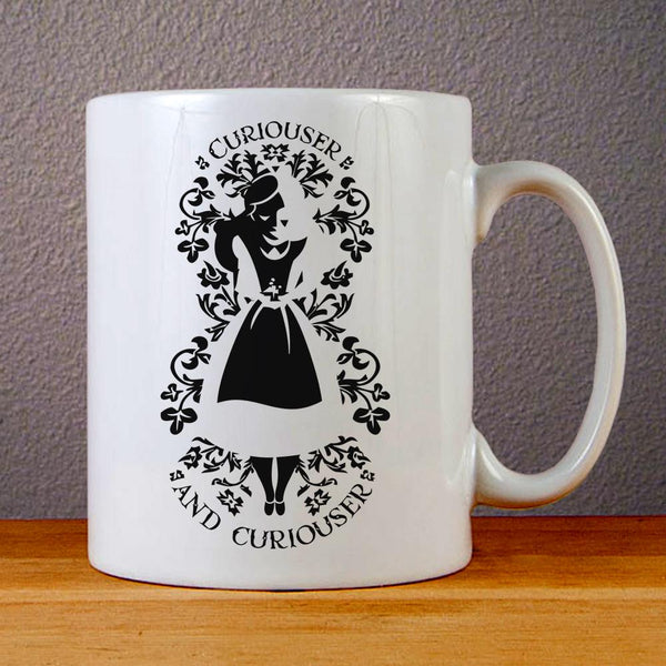 Alice in Wonderland Curiouser & Curiouser 2 Ceramic Coffee Mugs