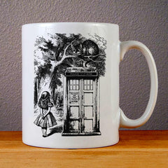 Alice in Wonderland And Cat On Doctor Who Box Ceramic Coffee Mugs