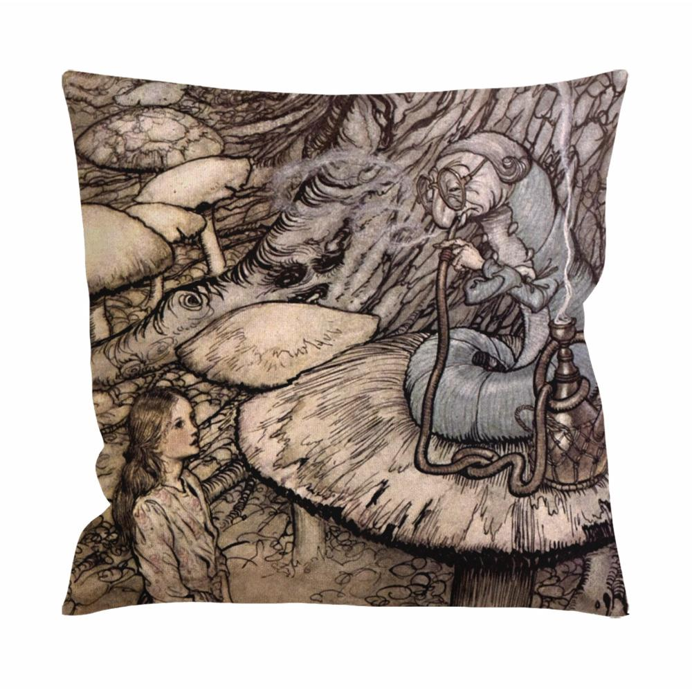 Alice in Wonderland and Caterpillar Cushion Case / Pillow Case