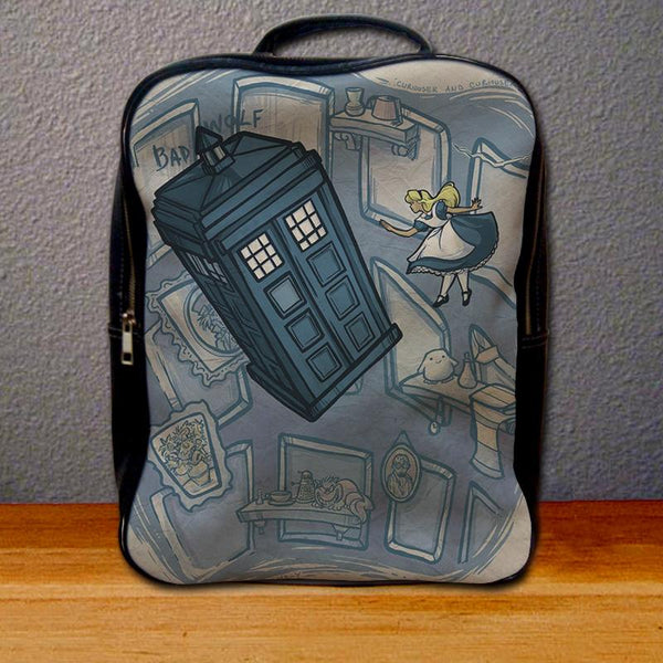 Alice in Wonderland on Doctor Who Mashup Backpack for Student