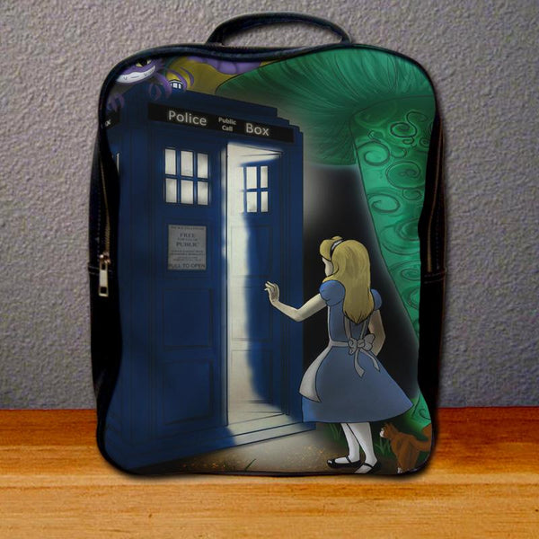 Alice In Wonderland on Tardis Box Backpack for Student