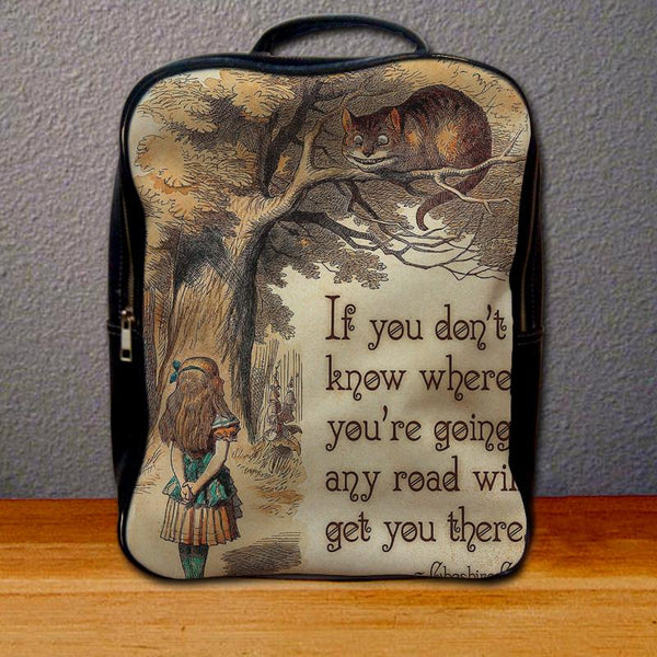 Alice in Wonderland with Cheshire Cat Quote Backpack for Student