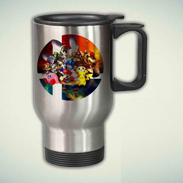 All Character Super Smash Bros Logo on Galaxy 14oz Stainless Steel Travel Mug