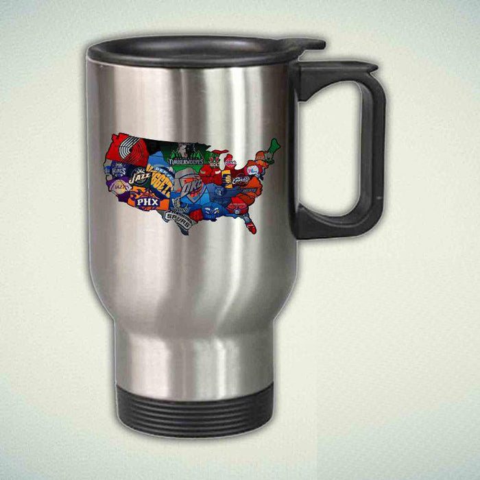 All Team Basketball Maps Usa Logo 14oz Stainless Steel Travel Mug