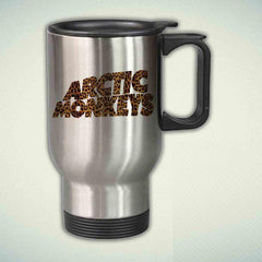 Arctic Monkeys Logo On Leopard 14oz Stainless Steel Travel Mug