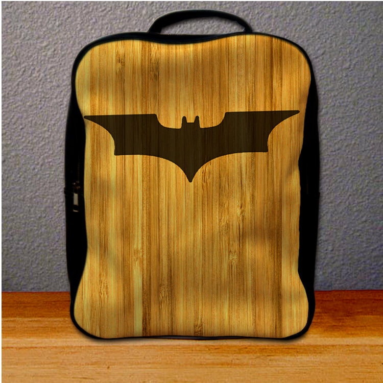 Batman Logo on Wood Backpack for Student