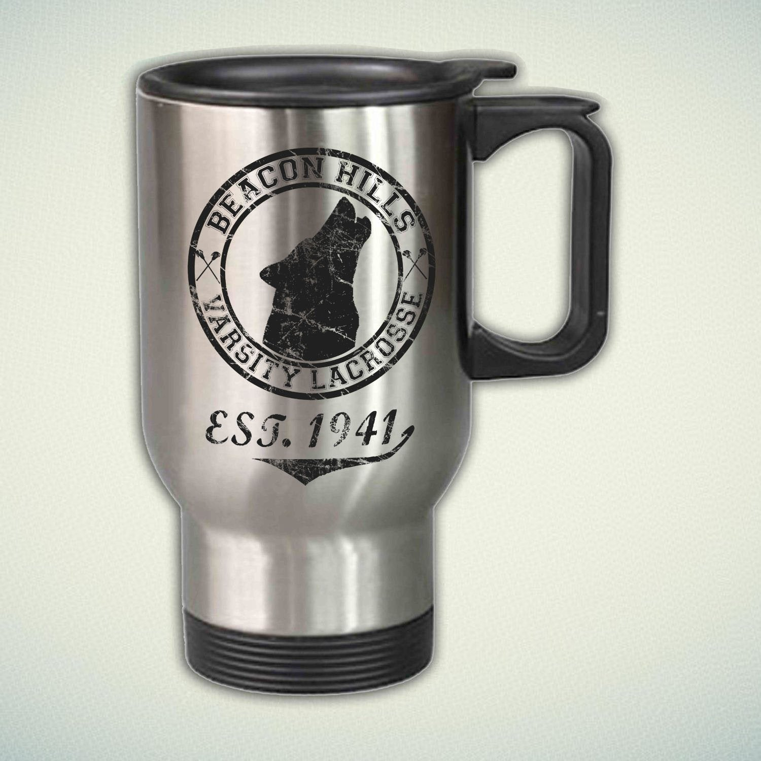 Beacon Hills Varsity Lacrosse Logo 14oz Stainless Steel Travel Mug