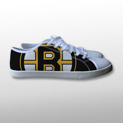 Boston Bruins Logo on Black Canvas Shoes