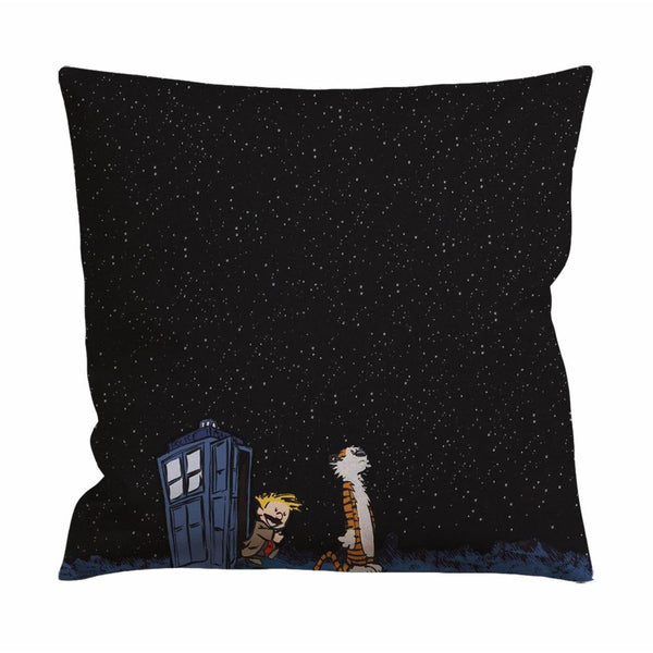 Calvin and Hobbes Tardis Cushion Case / Pillow Case