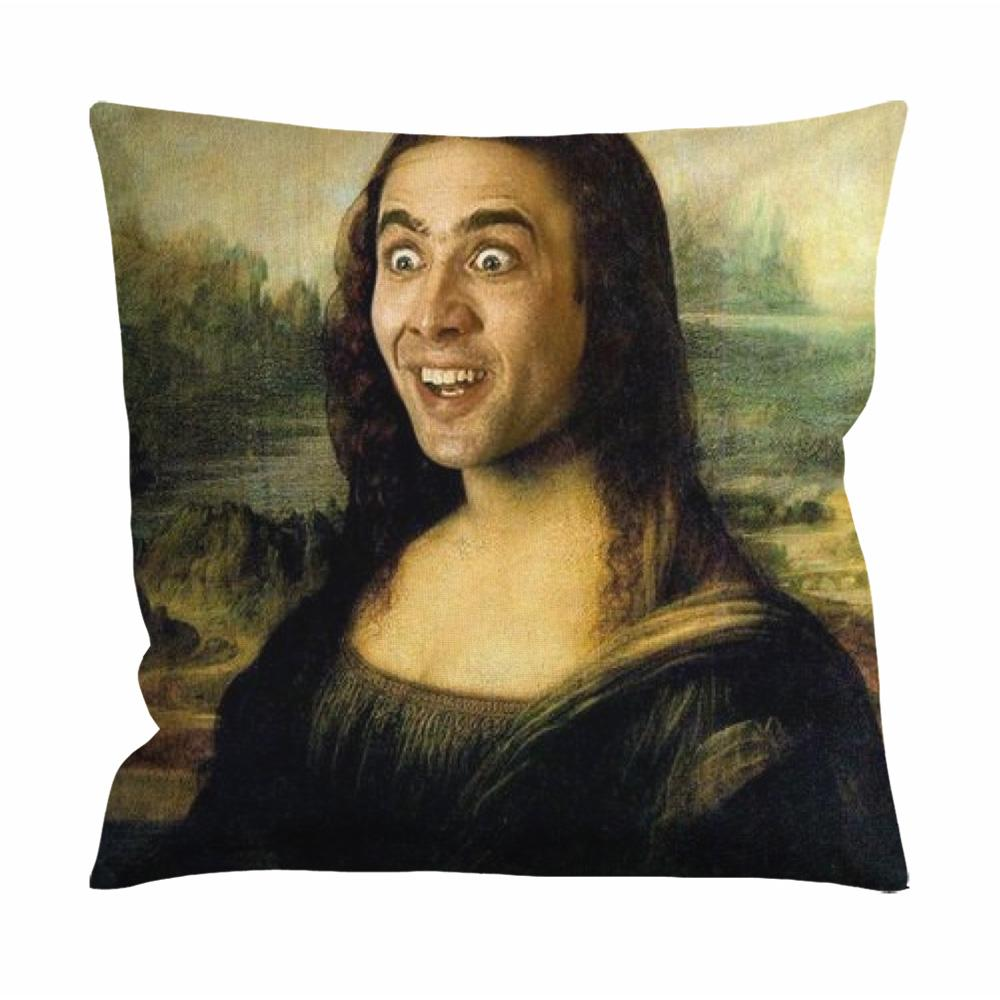 Cropped Nicolas Cage as Mona Lisa Cushion Case / Pillow Case