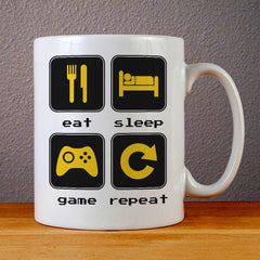 Eat Sleep Game Repeat Ceramic Coffee Mugs