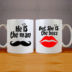He is the man & She is the Boos Mug Couples Mug Set Wedding Mug Couples Gift Set