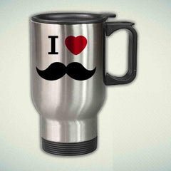 I Love Mustache 14oz Stainless Steel Travel Mug