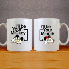 I'll be your Mickey & Minnie 2 Mug Couples Mug Set Wedding Mug Couples Gift Set