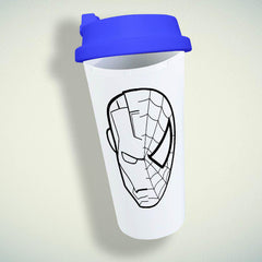 Iron Man V Spiderman Face Double Wall Plastic Mug