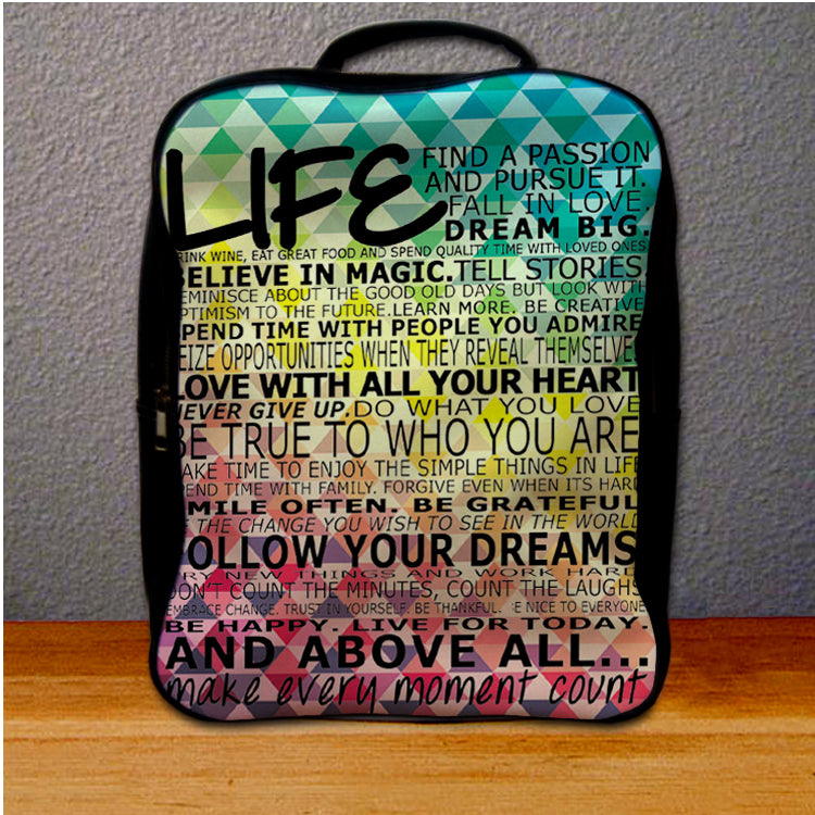 Live Quotes On Geomatric Patern Backpack For Student Giftmug