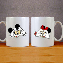 Love Mickey & Minnie Mug Colourfull Couples Mug Set Wedding Mug Couples Gift Set