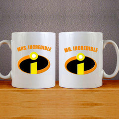 Mr & Mrs Incredible Logo Mug Colourfull Couples Mug Set Wedding Mug Couples Gift Set