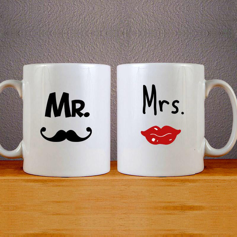 Mr & Mrs Logo Mug Colourfull Couples Mug Set Wedding Mug Couples Gift Set