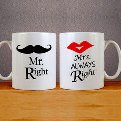 Mr Right & Mrs Always Right Mug Colourfull Couples Mug Set Wedding Mug Couples Gift