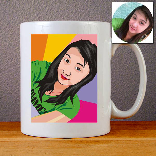 Custom Cartoon Face on a Mugs Personalized Painted Mug