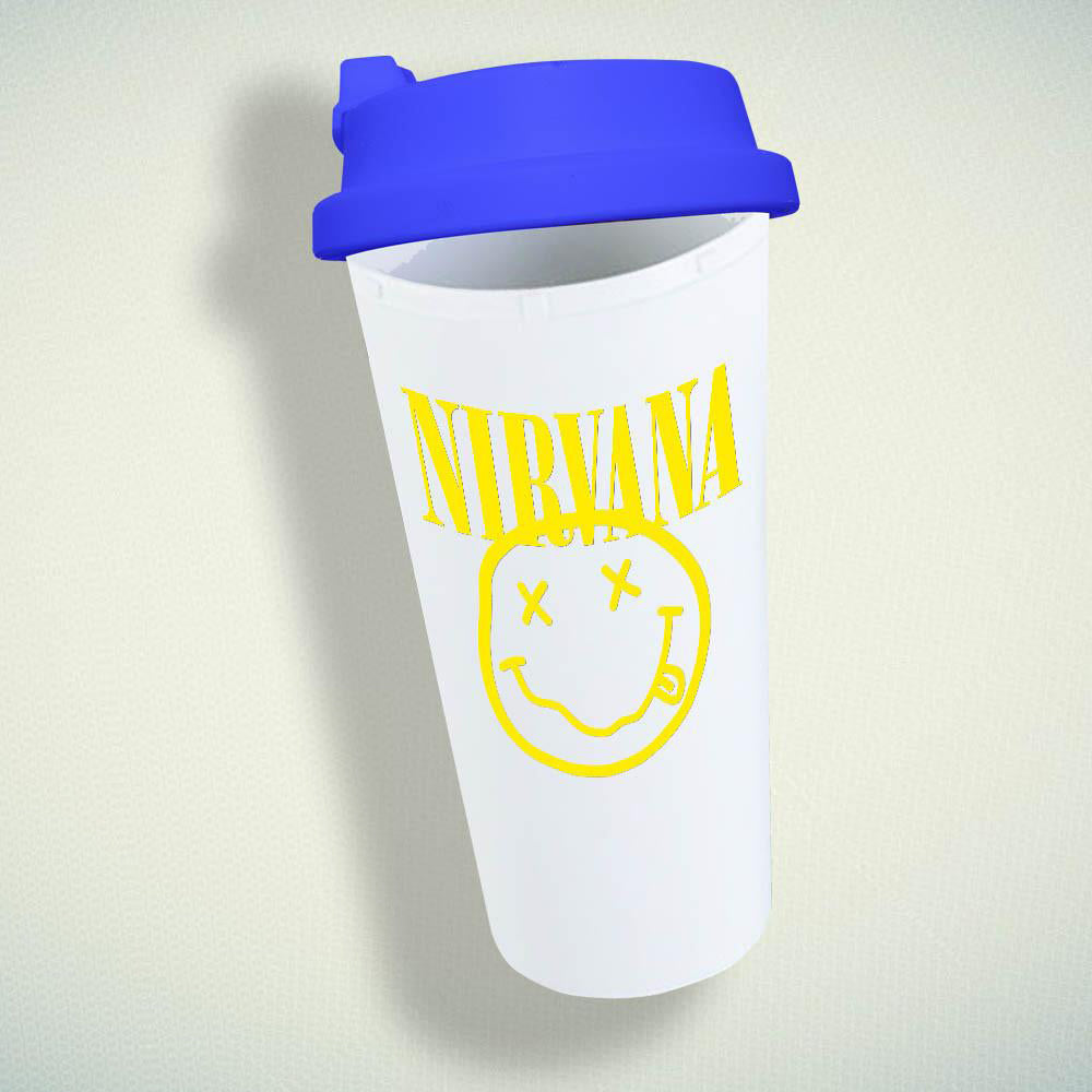 Nirvana Smiley Rock Band Face Cool Music Punk Kurt Cobain Double Wall Plastic Mug