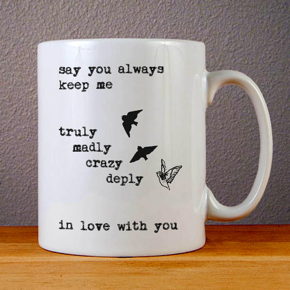 One Direction Song Truly Madly Deeply Crazy Love Birds Ceramic Coffee Mugs