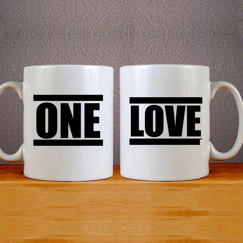 One Love Mug Colourfull Couples Mug Set Wedding Mug Couples Gift