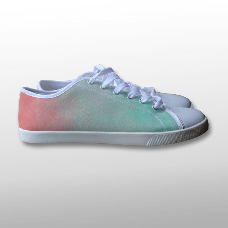 Pastel Red and Green Canvas Shoes