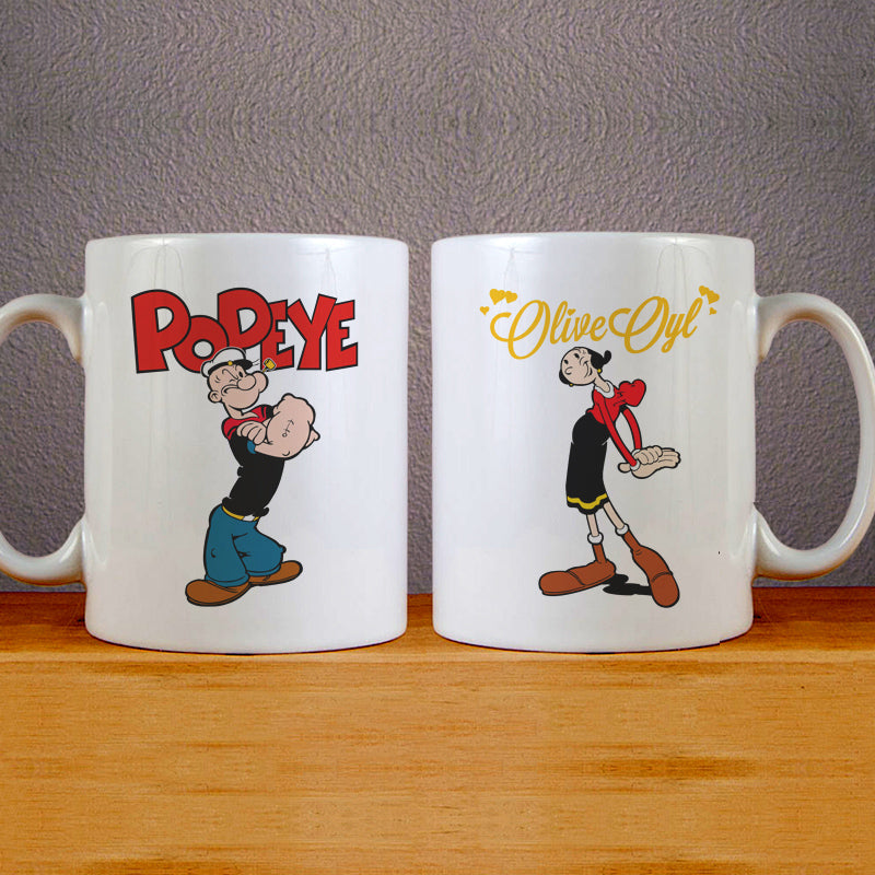 Popeye and Olive Oyl Mug Couples Mug Set Wedding Mug Couples Gift Set