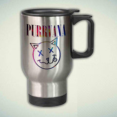 Purrvana Cat Funny on Galaxy 14oz Stainless Steel Travel Mug