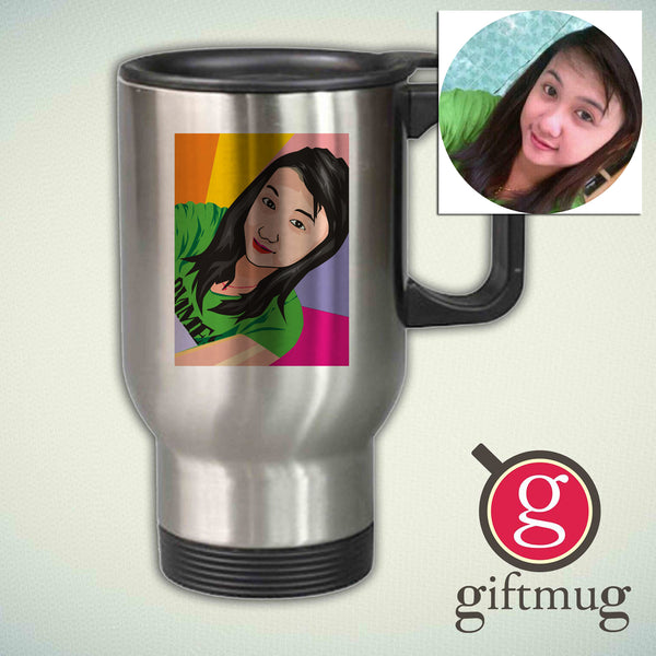 Custom Cartoon Face on a Stainles Mugs Personalized Painted Stainles Mugs