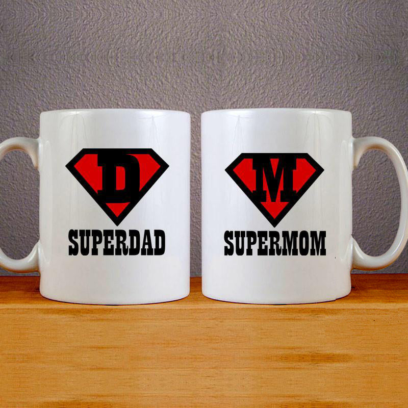 Super Dad & Mom Couples Mug Set Wedding Mug Couples Gift Set