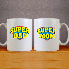 Super Dad & Super Mom 2 Couples Mug Set Wedding Mug Couples Gift