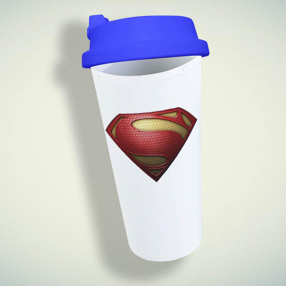 Superman, Man Of Steel Logo Textured Double Wall Plastic Mug