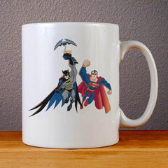 Superman and Batman Ceramic Coffee Mugs