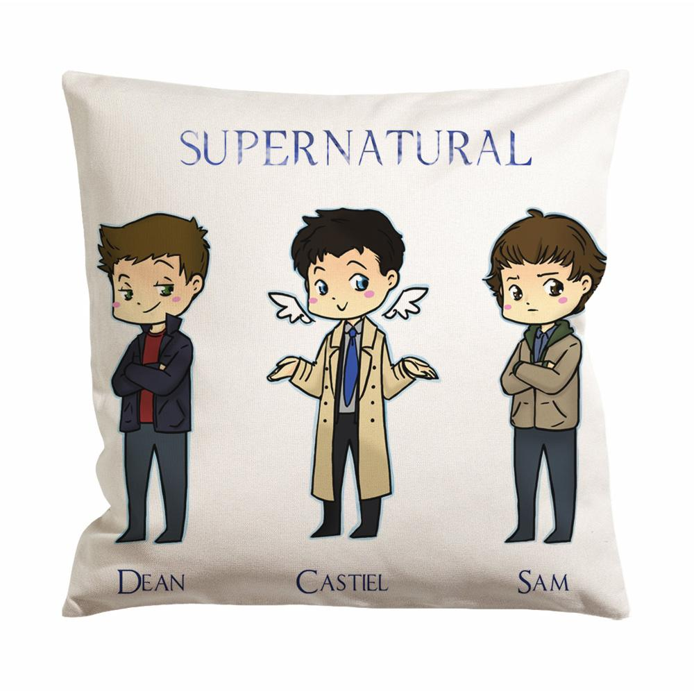 Supernatural Cast Cartoon Cushion Case / Pillow Case