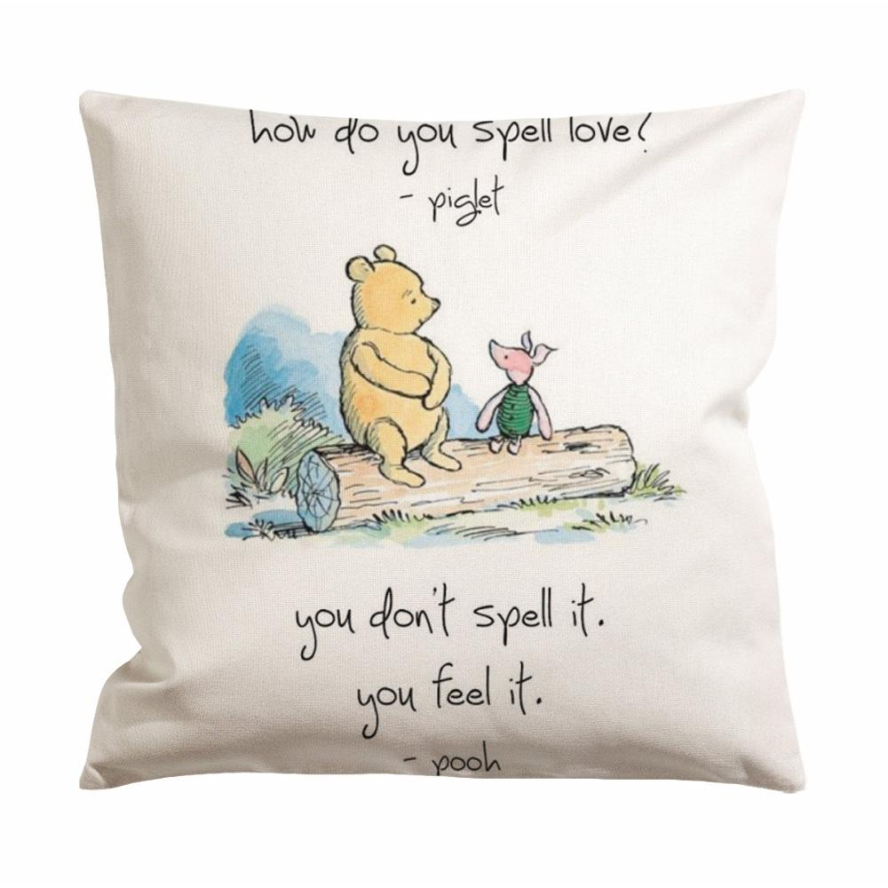 Winnie The Pooh Piglet Love Quote Cushion Case / Pillow Case ...