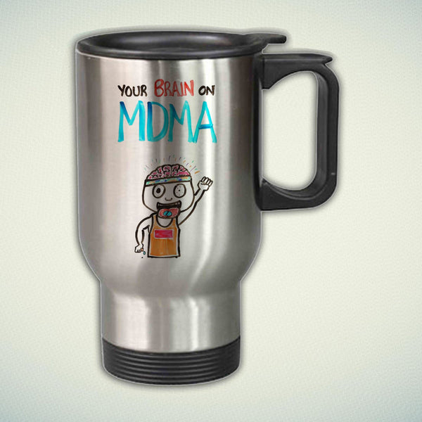 Your Brain on MDMA 14oz Stainless Steel Travel Mug