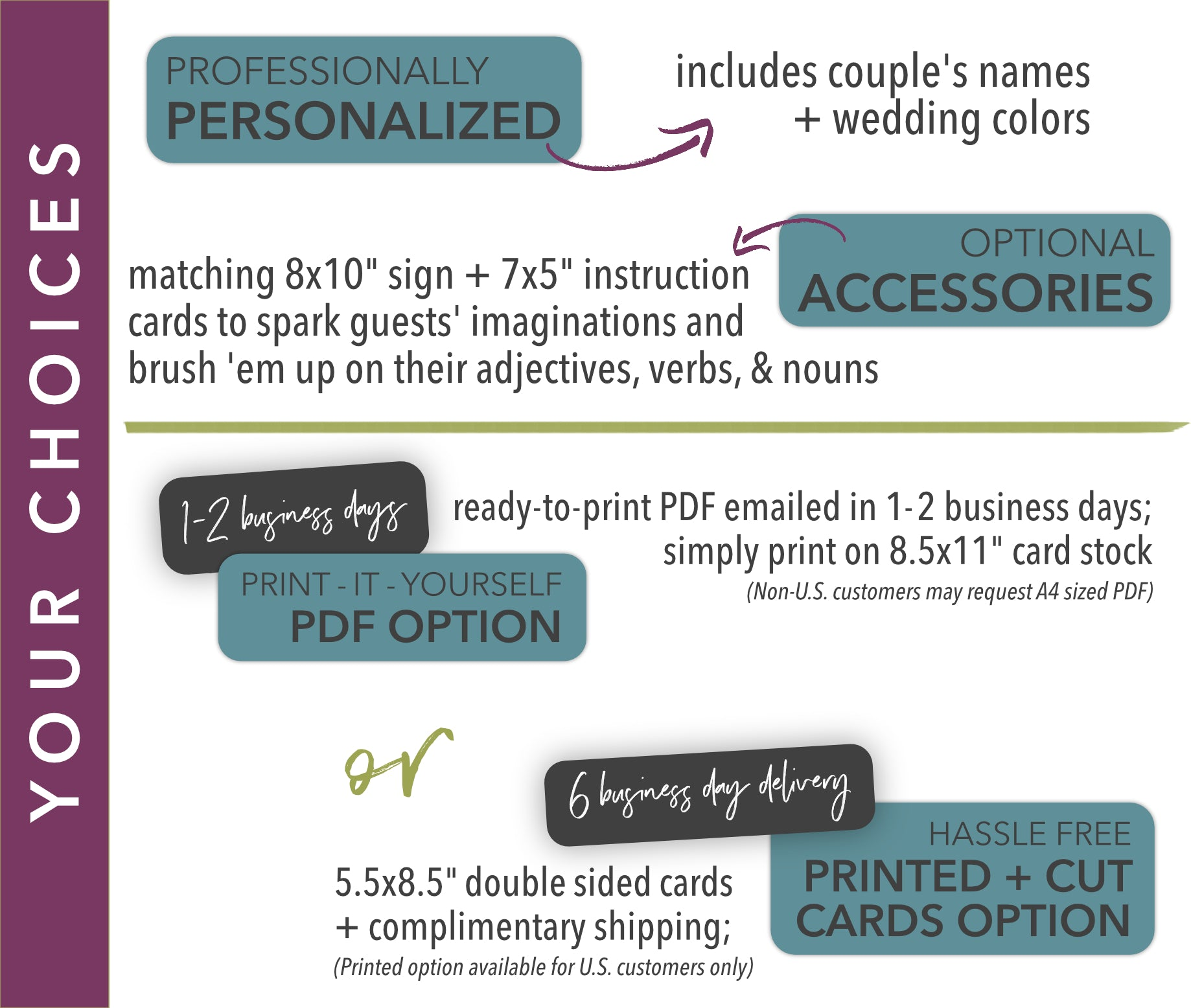 Mad Lib Wedding Guest Book Marriage Advice Cards Personalized